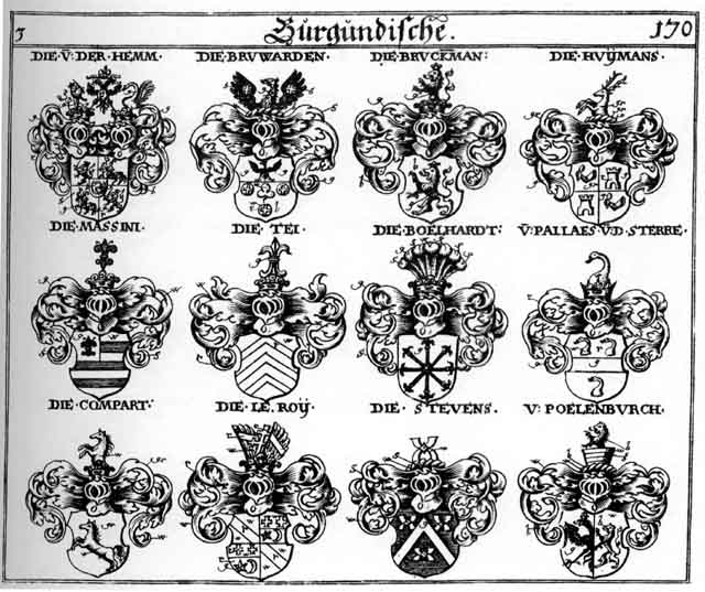 Coats of arms of Bruckmann, Bruward, Bruwarder, Compart, Hemm, Huymans, Ie Roy, Massini, Paelenburch, Pallaes, Stevens, Tei